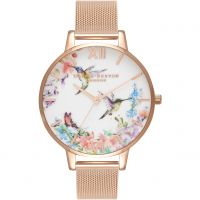 Damen Olivia Burton Painterly Prints Floral Birds Print Watch OB16PP21