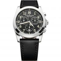 Herren Victorinox Schweizer Militär Infantry Grau Dial Schwarz Leder Armband Chronograf Uhren