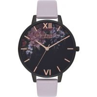 Ladies Olivia Burton After Dark Grey Lilac & IP Black Floral Watch
