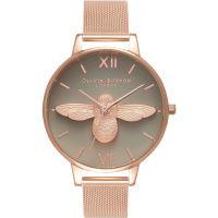 Damen Olivia Burton 3D Biene Rose Gold Maschen Uhren