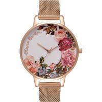 femme Olivia Burton English Garden Rose Gold Mesh Watch OB16ER10