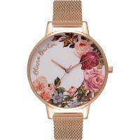 Ladies Olivia Burton English Garden Rose Gold Mesh Watch