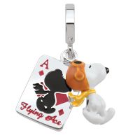 Persona Dam Peanuts Flying Ace & Card Charm Bead Sterlingsilver H15067P1