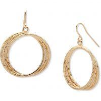 Ladies Nine West Gold Plated Hoop Drop Earrings 60467942-887