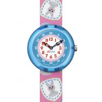 Kinder Flik Flak Camping Badge Pink Watch FBNP091
