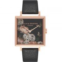 Ladies Olivia Burton Signature Florals Square Dial Black & Rose Gold Watch