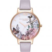 Damen Olivia Burton Winter Garten Grau Flieder & Rose Gold Uhren