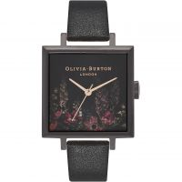 Ladies Olivia Burton After Dark Square Dial IP Black & Rose Floral Watch