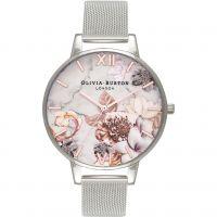 Femmes Olivia Burton Marbre Floral Rose Or & Argent Maille Floral Montre