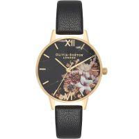 Damen Olivia Burton meliert geblümt Schwarz & Gold geblümt Uhren