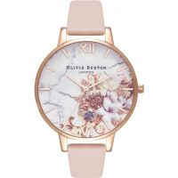 femme Olivia Burton Marble Floral Nude Peach & Rose Gold Floral Watch OB16CS12