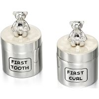 Childrens D For Diamond Silver Plated Tooth Box and Curl Box
