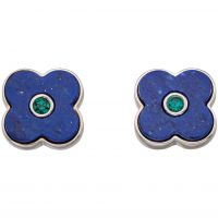Ladies Orla Kiely Sterling Silver Lapis Shadow Flower Stud Earrings