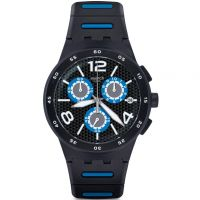 homme Swatch Black Spy Chronograph Watch SUSB410