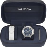 Herren Nautica Porthole Flag Box Set Chronograph Watch NAPPRH007