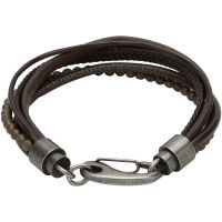 Unique Heren Leather and Haematite Bracelet Roodkoper PVD B387DB/21CM