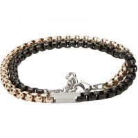 Unique Herr Black and Gold IP Double Wrap Bracelet Rostfritt stål LAB-125RO