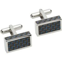 Ladies Unique & Co Stainless Steel and Carbon Fibre Cufflinks QC-227