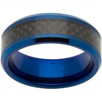 Unique & Co 8mm Tungsten Carbide and Carbon Fibre Ring Size U JEWEL