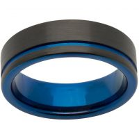 Unique & Co 7mm Tungsten Carbide with Blue and Black IP Size U JEWEL TUR-58-62