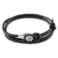 Anchor & Crew Black Leather Dundee Bracelet JEWEL AC.DO.DUL