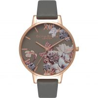 femme Olivia Burton Marble Florals Dark Grey & Rose Gold Watch OB16CS08