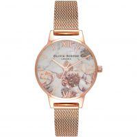Damen Olivia Burton meliert Blumen Rose Gold Maschen Uhren