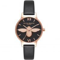 Ladies Olivia Burton Vegan Friendly 3D Bee Black & Rose Gold Watch