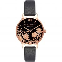 Ladies Olivia Burton Lace Detail Black & Rose Gold Watch