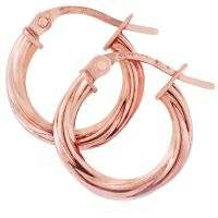 Jewellery 9ct Rose Gold Twisted Hoop Earrings