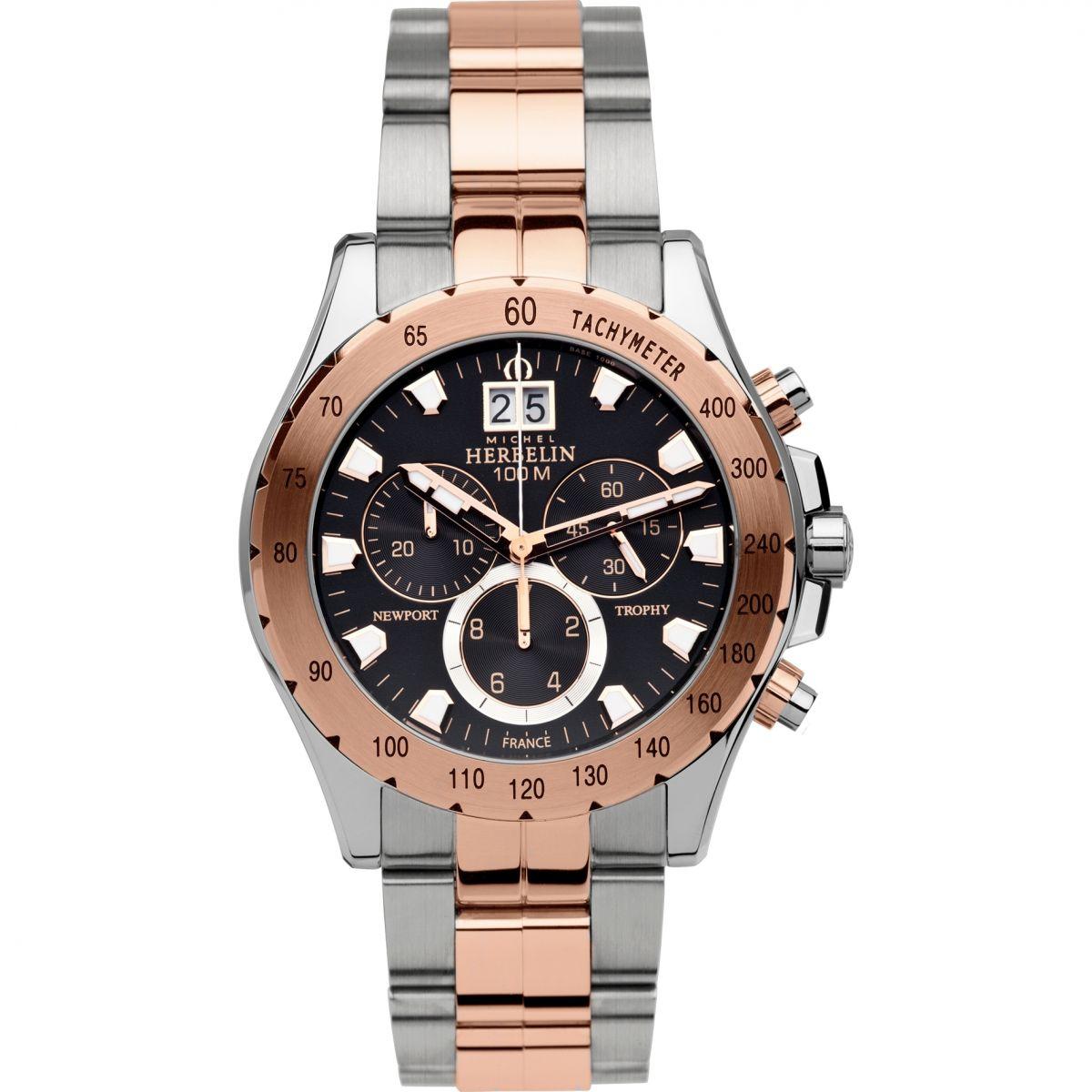 gents michel herbelin newport trophy chronograph watch. Black Bedroom Furniture Sets. Home Design Ideas
