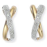 Weiß und Gelb Gold Diamant Kuss Drop Ohrringe