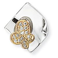 White and Yellow Gold Diamond Butterfly Pendant