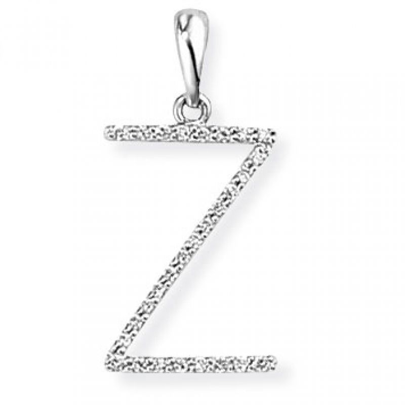 White Gold Diamond Z Initial Pendant
