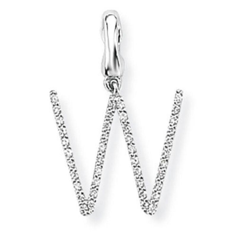White Gold Diamond W Versatile Initial