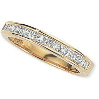 0.50ct tw VS Prinzessinnenschliff Halbe-Ewigkeit-Diamant Ring Größe L