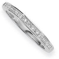 White Gold 0.15ct tw VS Princess-cut Half Eternity Diamond Ring Size Q