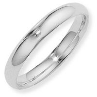 White Gold 4mm Essential Court-Shaped Band Size S