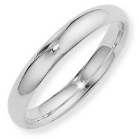 White Gold 4mm Essential Court-Shaped Band Size K