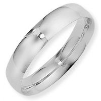 White Gold 5mm Essential Court-Shaped Band Size M