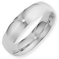 White Gold 6mm Essential Court-Shaped Band Size W