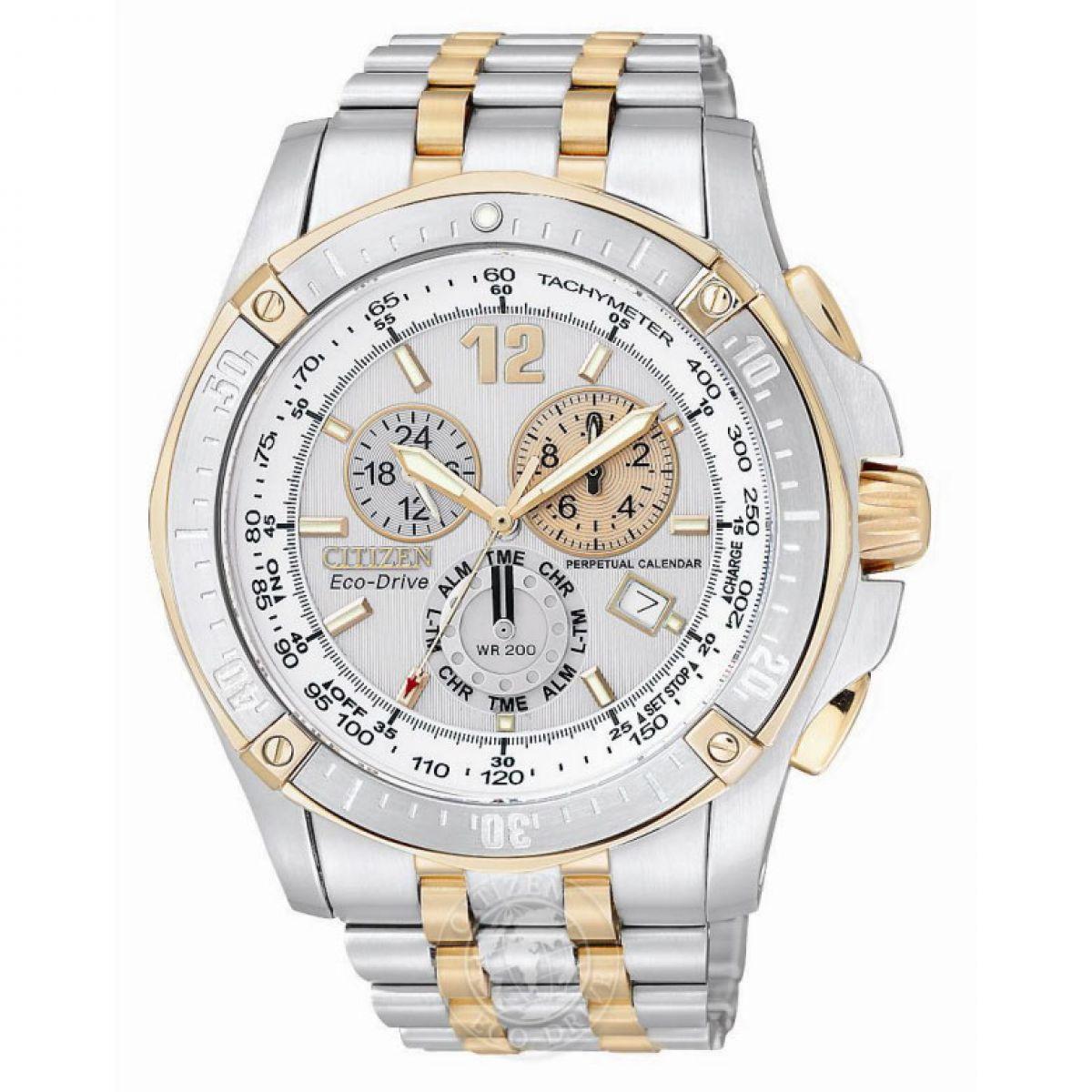 Perpetual Calendar Chronograph : Gents citizen perpetual calendar alarm chronograph watch