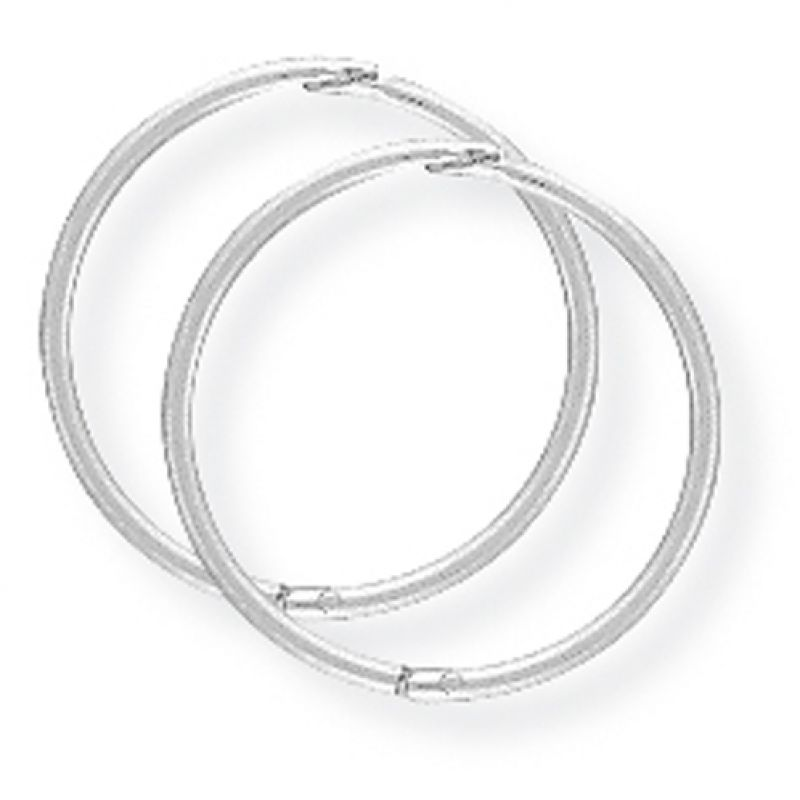 White Gold 14mm Thin Hinged Sleeper Earrings