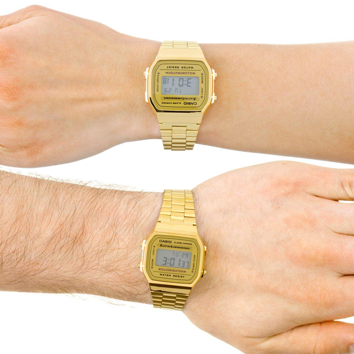 Montre Casio Couleur Or tout unisexe casio classique leisure alarme chronographe montre a168wg-9ef