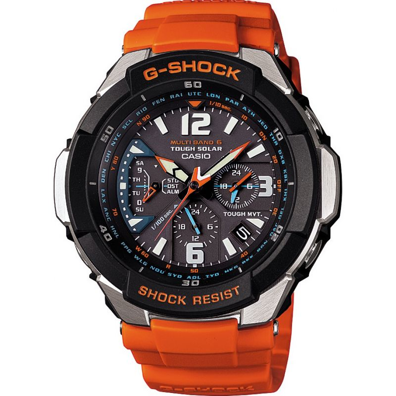 homme Casio G-Shock Gravity Defier Alarm Chronograph Radio Controlled Tough Solar Watch GW-3000M-4AER