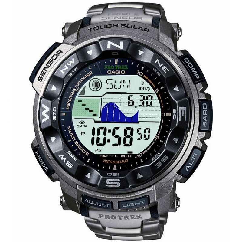 homme Casio Pro Trek Alarm Chronograph Radio Controlled Tough Solar Watch PRW-2500T-7ER