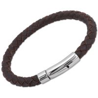 Biżuteria uniwersalne Unique & Co Darkbrown Leather Bracelet A40DB/21CM
