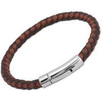 Biżuteria uniwersalne Unique & Co Dark Brown + Light Brown Leather Bracelet A40MB/21CM