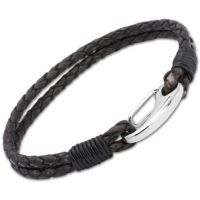 Unique Unisex Antique Black Leather Bracelet Roestvrijstaal B33ABL/21CM