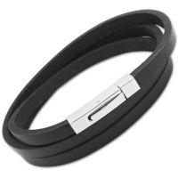 Herren Unique Edelstahl Schwarz Leder Armband